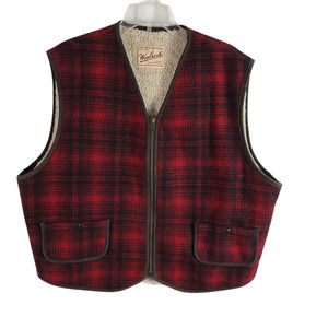 Woolrich Vest Full Zip Sherpa Lined Waist Pockets Collarless Plaid Red Black